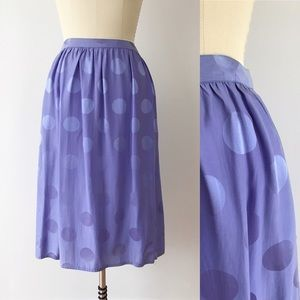 Vintage Purple Silk Polka Dot Midi Skirt G424